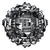 palla futuristica della città 3d in cromo d'argento su bianco Fotografia Stock Libera da Diritti