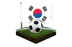 Palla per giocar a calcioe e la bandiera nazionale della Corea sul campo con erba Immagine Stock Libera da Diritti