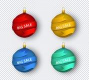 Palla piana rossa dell'albero di Natale di vettore con il nastro illustrazione di stock