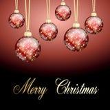 Palla rossa di Buon Natale dell'oro Immagine Stock Libera da Diritti