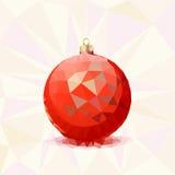 Palla rossa di Natale con i triangoli Fotografia Stock Libera da Diritti
