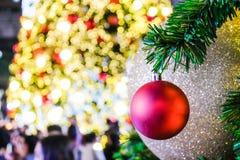 Palla rossa di natale del primo piano sull'albero di Natale del fronte con il bok della sfuocatura fotografie stock libere da diritti