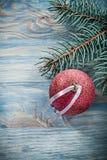 Palla rossa di Natale del ramo del pino sulle celebrazioni del bordo di legno concentrate Fotografie Stock Libere da Diritti