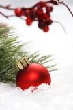 Palla rossa di natale su neve davanti a glassa sugli aghi e sulle sorbe rosse Immagine Stock