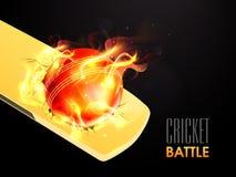 Palla rossa in fiamma con il pipistrello per la battaglia del cricket Fotografie Stock