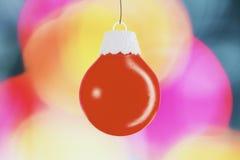 Palla rossa - giocattolo dell'albero di Natale Fotografia Stock