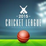 Palla rossa per la lega del cricket Fotografia Stock