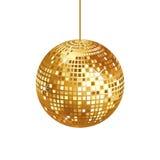 Palla scintillante della discoteca dell'oro isolata Fotografia Stock