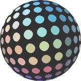Palla smorzata rosa gialla blu iridescente 3d del mosaico su fondo bianco isolato Elemento creativo per progettazione royalty illustrazione gratis