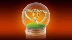 Palla trasparente della sfera con gli anelli di matrimonio dentro rappresentazione 3d Immagine Stock