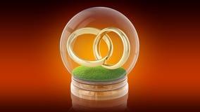 Palla trasparente della sfera con gli anelli di matrimonio dentro rappresentazione 3d rappresentazione 3d Fotografia Stock Libera da Diritti