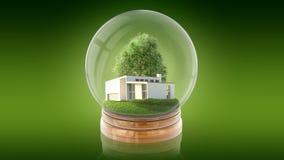 Palla trasparente della sfera con la casa bianca moderna dentro rappresentazione 3d Fotografia Stock Libera da Diritti
