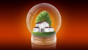 Palla trasparente della sfera con la casa bianca moderna dentro rappresentazione 3d Immagine Stock
