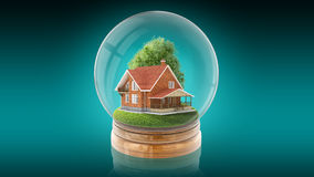 Palla trasparente della sfera con la casa di legno dentro rappresentazione 3d Immagini Stock Libere da Diritti