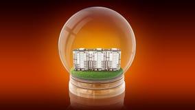 Palla trasparente della sfera con la casa moderna di partment dentro rappresentazione 3d Immagini Stock Libere da Diritti