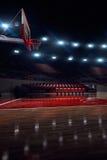 Pallacanestro court Pioggia sullo stadio 3d rendono il fondo illustrazione di stock