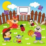 Pallacanestro del gioco degli animali Fotografie Stock