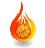 Pallacanestro sul logo dell'icona del fuoco royalty illustrazione gratis