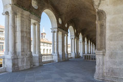 Palladian Basilica. Vicenza,Italy-April 3,2015:view of  the  famous colonnade of the Palladian basilica in the center of Vicenza during a sunny day Royalty Free Stock Image