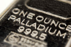 Palladium bar. Macro image of a one ounce Palladium bar stock photography