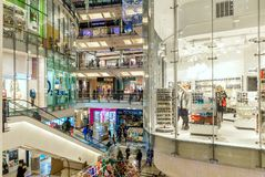 Palladium mall interior view in Prague, Czech Republic. PRAGUE, CZECH REPUBLIC - DECEMBER 10, 2015: Palladium mall interior decorated for Christmas holidays Royalty Free Stock Images