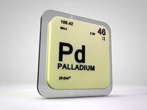 Palladium - Pd - chemical element periodic table. 3d render Royalty Free Stock Images