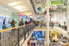 Palladium shopping mall interior view in Prague, Czech Republic. PRAGUE, CZECH REPUBLIC - DECEMBER 10, 2015: Interior view of Palladium shopping center Stock Images