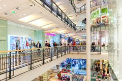 Palladium shopping mall interior view. PRAGUE, CZECH REPUBLIC - DECEMBER 10, 2015: Interior view of Palladium shopping center decorated for Christmas holidays Royalty Free Stock Photo