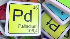 PalladiumPd-kvarter på högen av den periodiska tabellen av kvarteren för kemiska beståndsdelar Släkt tolkning 3D för kemi Arkivbilder