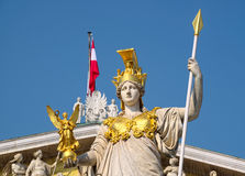 Pallas雅典娜纪念碑细节,在维也纳 免版税库存照片