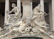Pallas Athena Fountain in front of the Austrian Parliament in V Royalty Free Stock Photography