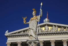 Pallas Athena, Goddess of Wisdom, standing in front of the Austrian Parliament building in Vienna Royalty Free Stock Photography
