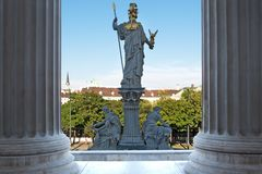 Pallas Athene in front of vienna parliament Stock Images