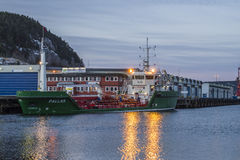 Chemical tanker pallas at halden harbor Stock Image