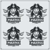 Pallavolo, baseball, calcio e logos ed etichette di calcio Emblemi del club di sport con il pirata illustrazione vettoriale