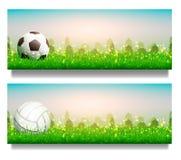 Pallavolo e pallone da calcio sull'erba Immagini Stock Libere da Diritti