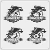 Pallavolo, pallacanestro, calcio e logos ed etichette di calcio Emblemi del club di sport con lo squalo martello illustrazione vettoriale