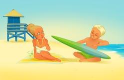 Pallavolo sulla spiaggia royalty illustrazione gratis