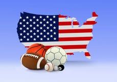 Palle americane di sport e della mappa Fotografia Stock Libera da Diritti
