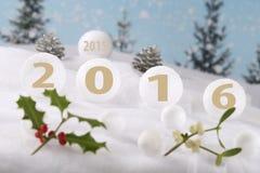 Palle bianche con 2016 Fotografia Stock Libera da Diritti