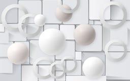Palle bianche con i cerchi sui precedenti delle mattonelle carte da parati 3D per la rappresentazione interna 3D immagine stock libera da diritti