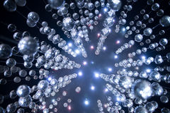 Palle blu astratte di cristallo, fondo Immagine Stock