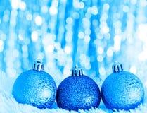 Palle blu di natale Fotografie Stock Libere da Diritti
