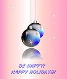 Palle blu sul fondo di Natale Immagine Stock