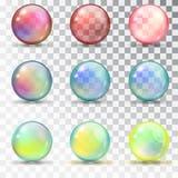 Palle colorate trasparenti con straripamento Immagini Stock Libere da Diritti