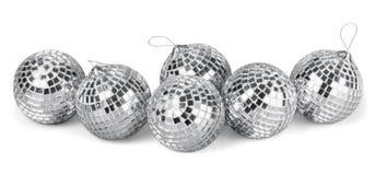 Palle d'argento dello specchio della discoteca isolate su bianco Immagini Stock