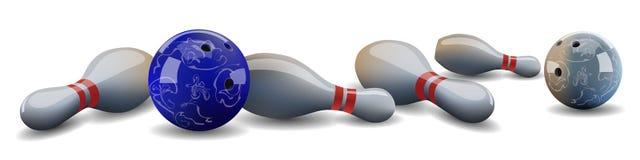 Palle da bowling realistiche di vettore e perni di menzogne Fotografia Stock
