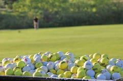 Palle da golf bianche e gialle di pratica al campo da golf che colpisce gamma Immagini Stock Libere da Diritti