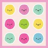 Palle del filato di Kawaii messe Stile giapponese ENV 10 Illustrazione di Stock