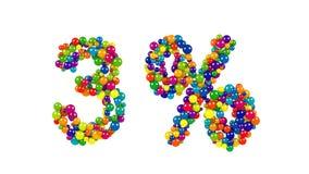 Palle del pallone che formano un simbolo di tre per cento Immagini Stock Libere da Diritti